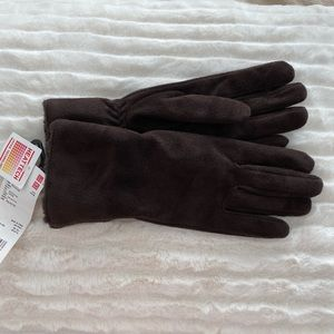Uniqlo Heattech Lining Faux Leather Gloves